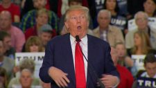 Photo of Donald Trump with his facial expression and arms waving meant to imitate the physical movements of a reporter who lives with a form of palsy.