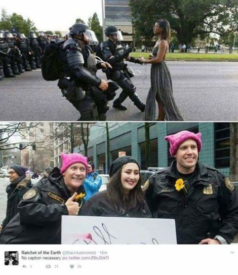 Two photos. Top: a black woman with arms out, alone, being approached by police in heavy riot gear. Bottom: a white woman smiling and posing for a photo with two police offers (also smiling) who are wearing pink hats.
